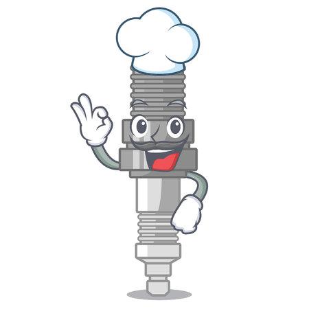 Chef spark plug in a cartoon box vector illustration