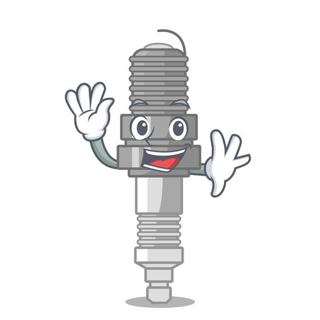 Waving spark plug in a cartoon box vector illustration