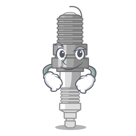 Smirking spark plug in a cartoon box Illustration