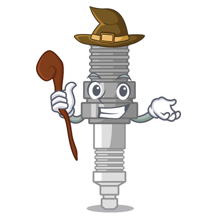 Witch spark plug isolated with the mascot vector illustration