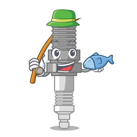 Fishing spark plug isolated with the mascot vector illustration