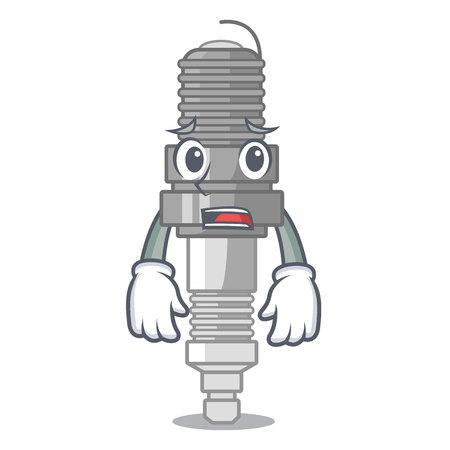 Afraid spark plug isolated with the mascot vector illustration