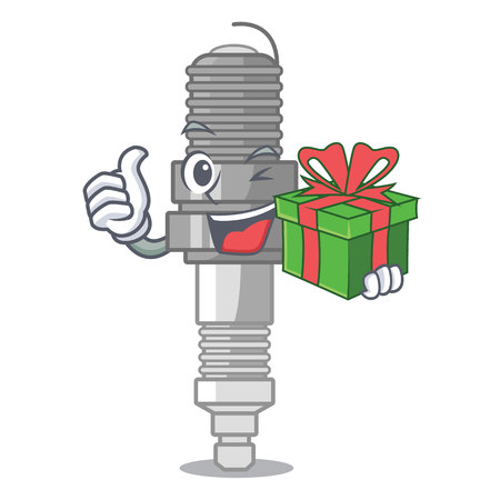 With gift spark plug isolated with the mascot vector illustration