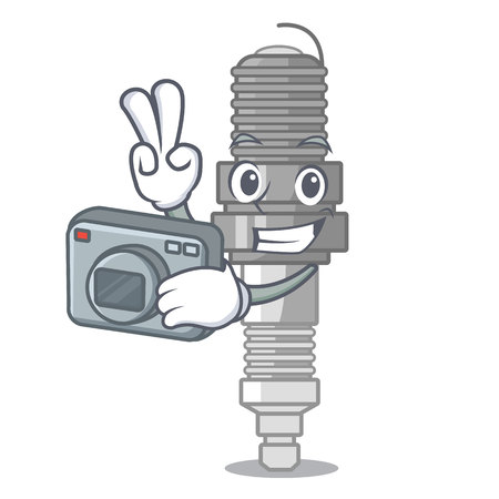 Photographer spark plug isolated with the mascot vector illustration