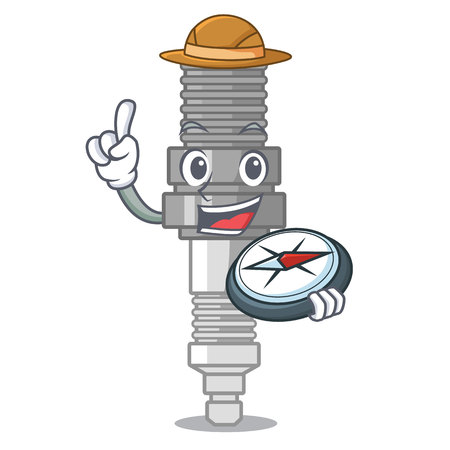 Explorer spark plug isolated with the mascot vector illustration