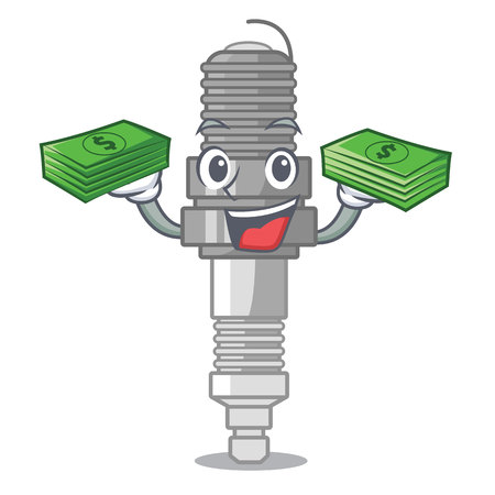 With money bag spark plug isolated with the mascot vector illustration