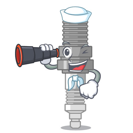 Sailor with binocular spark plug isolated with the mascot vector illustration Illustration