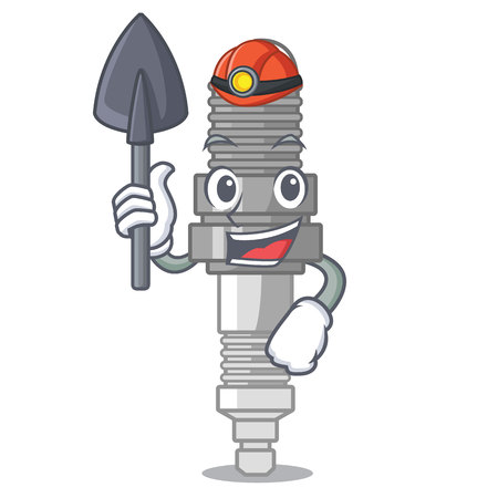 Miner spark plug isolated with the mascot vector illustration