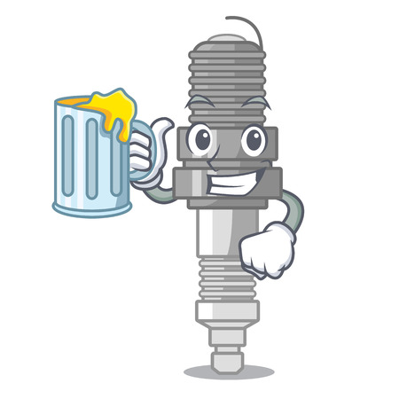 With juice spark plug isolated with the mascot vector illustration Illustration