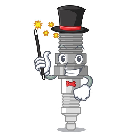 Magician miniature spark plug in cartoon shape vector illustration Ilustração