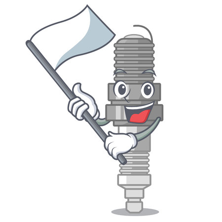 With flag miniature spark plug in cartoon shape vector illustration Ilustração
