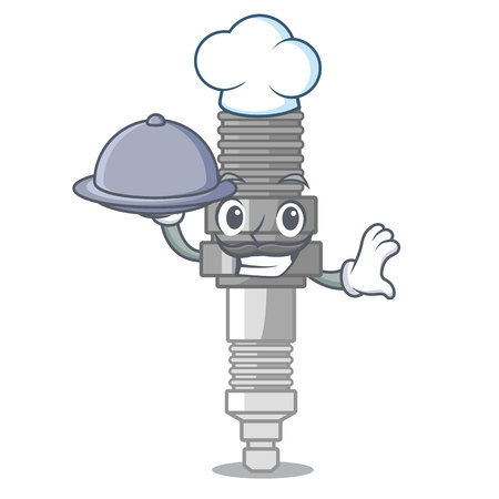 Chef with food spark plug isolated with the mascot vector illustration Illustration