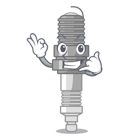 Call me miniature spark plug in cartoon shape vector illustration Ilustração