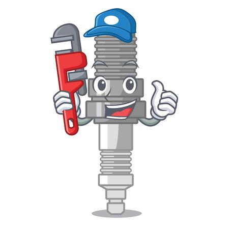 Plumber miniature spark plug in cartoon shape vector illustration