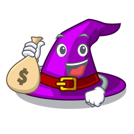 With money bag with hat in the shape mascot vector illustration Imagens - 124796917