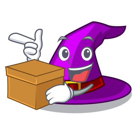With box with hat in the character closet vector illustration