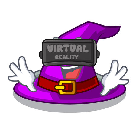 Virtual reality witch hat isolated with the mascot vector illustration Vectores
