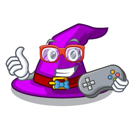 Gamer witch hat isolated with the mascot vector illustration