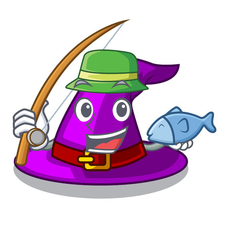Fishing witch hat isolated with the mascot