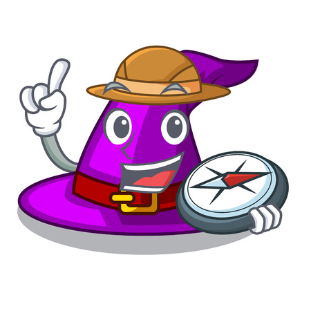 Explorer witch hat isolated with the mascot vector illustration Vectores