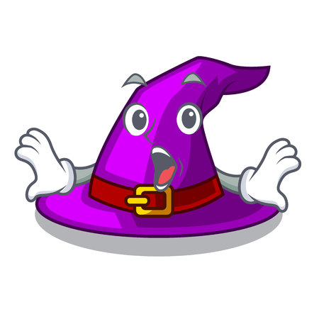 Surprised witch hat isolated with the mascot vector illustration Imagens - 124796942
