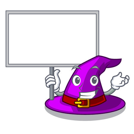 Bring board with hat in the shape mascot vector illustration Illustration