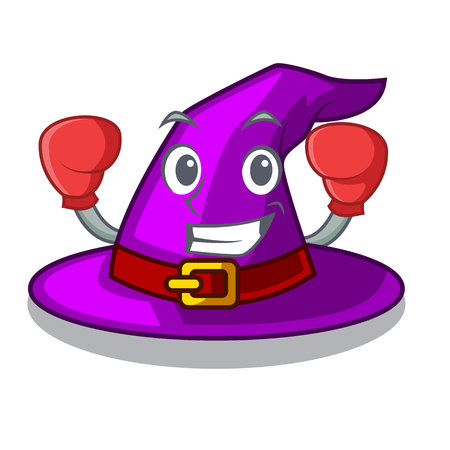 Boxing with hat in the shape mascot vector illustration Imagens - 124796949