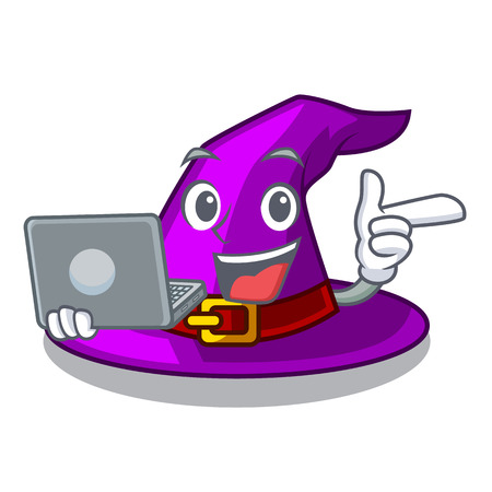 With laptop with hat in the shape mascot vector illustration Imagens - 124796951