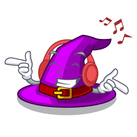 Listening music witch hat isolated with the mascot vector illustration