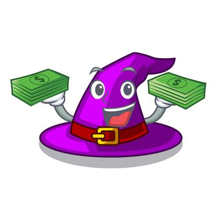 Con sombrero de bruja de bolsa de dinero aislado con la ilustración de vector de mascota