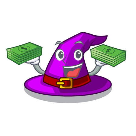 With money bag witch hat isolated with the mascot vector illustration Imagens - 124796954