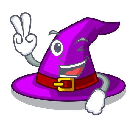 Dos dedos con sombrero en la ilustración de vector de armario de personaje