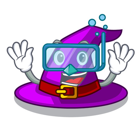 Diving with hat in the character closet vector illustration