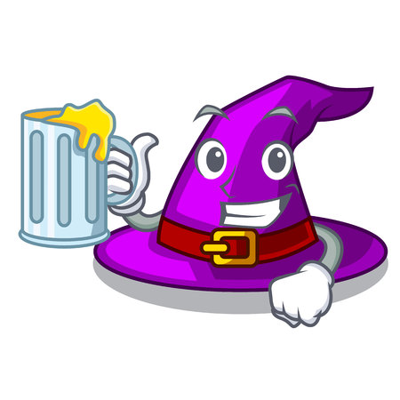 With juice witch hat isolated with the mascot vector illustration