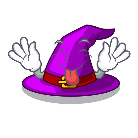 Tongue out witch hats in shape beautiful cartoons vector illustration Imagens - 124796973