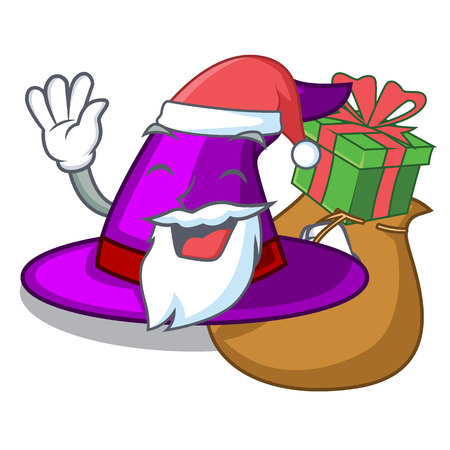 Santa with gift witch hats in shape beautiful cartoons vector illustration Imagens - 124796980