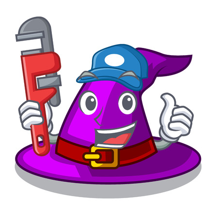 Plumber witch hats in shape beautiful cartoons vector illustration Illustration