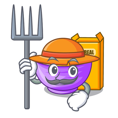 Farmer cereal box in a cartoon bowl vector illustration 矢量图像