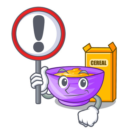 With sign cereal box in a cartoon bowl vector illustration