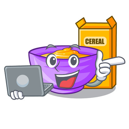 With laptop cereal box in a cartoon bowl vector illustration