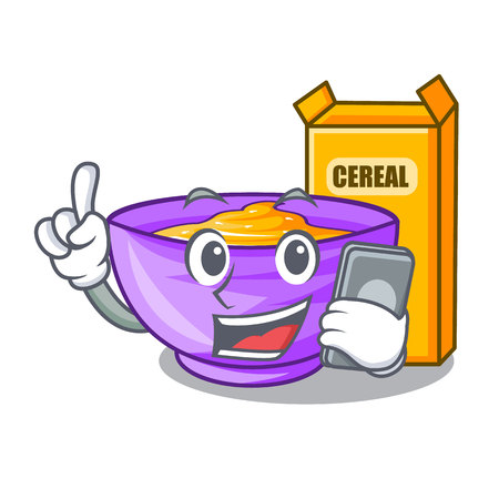 With phone cereal box in a cartoon bowl vector illustration