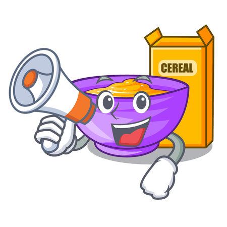 With megaphone cereal box in a cartoon bowl vector illustration