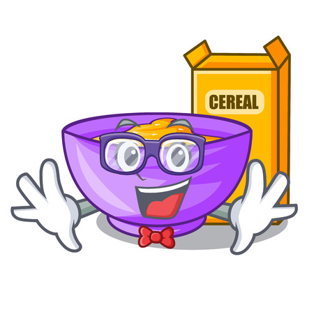 Geek cereal box in the character fridge vector illustration