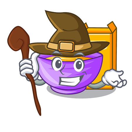 Witch cereal box in the shape mascotvector illustration Imagens - 124796994