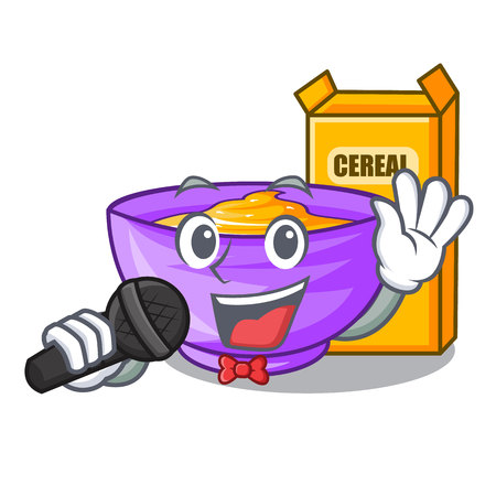 Singing cereal box in the shape mascot vector illustration