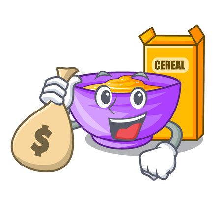 With money bag cereal box in a cartoon bowl vector illustration Çizim
