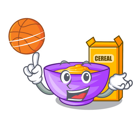With basketball cereal box in a cartoon bowl vector illustration