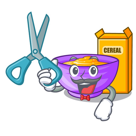 Barber cereal box in a cartoon bowl vector illustration Çizim