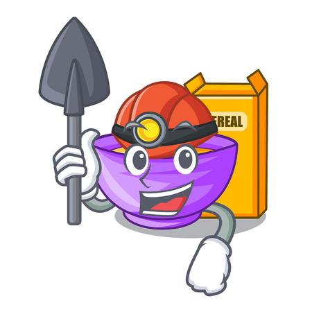 Miner cereal box in the shape mascot vector illustration Ilustração