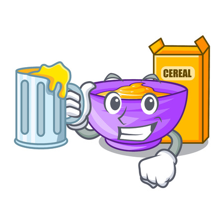 With juice cereal box in the shape mascot